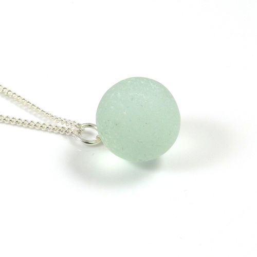 Vintage Seafoam Sea Glass Marble Necklace
