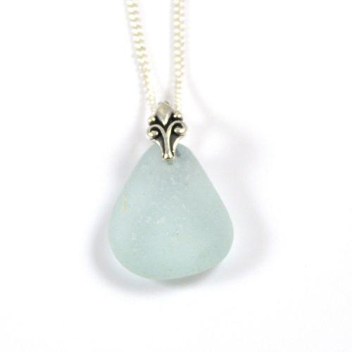Seafoam Blue Sea Glass and Silver Necklace NADINE