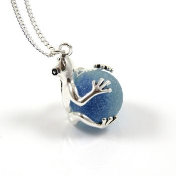 Frog with Cyan Blue Sea Glass Marble Locket