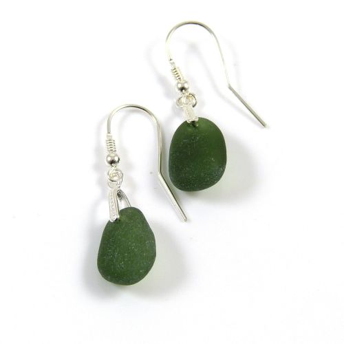 Hunter Green Sea Glass Drop Earrings e57