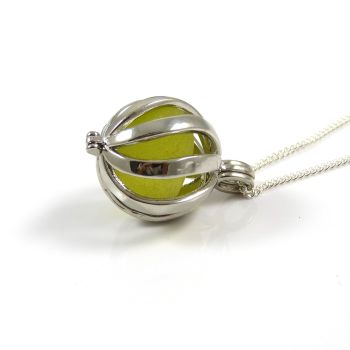 Rare Pale Yellow Sea Glass in Swirl Locket