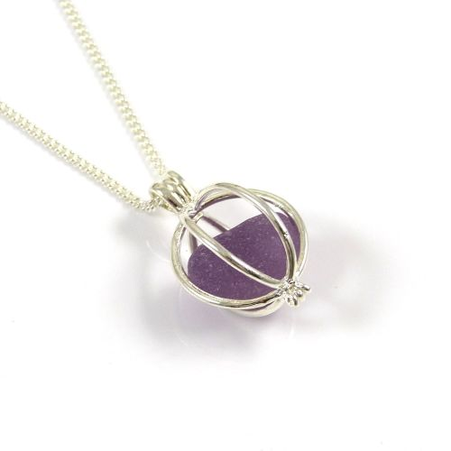 Rare Lavender Sea Glass in Round Locket