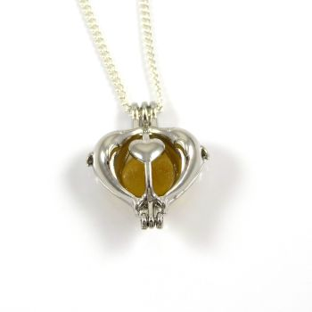 Yellow Gold Sea Glass in Heart Locket