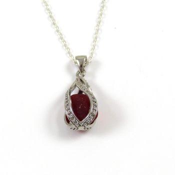 Rare Crimson Red Sea Glass Gem Locket Necklace