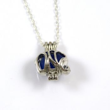Tiny Cobalt Blue Sea Glass Elephant Locket Necklace