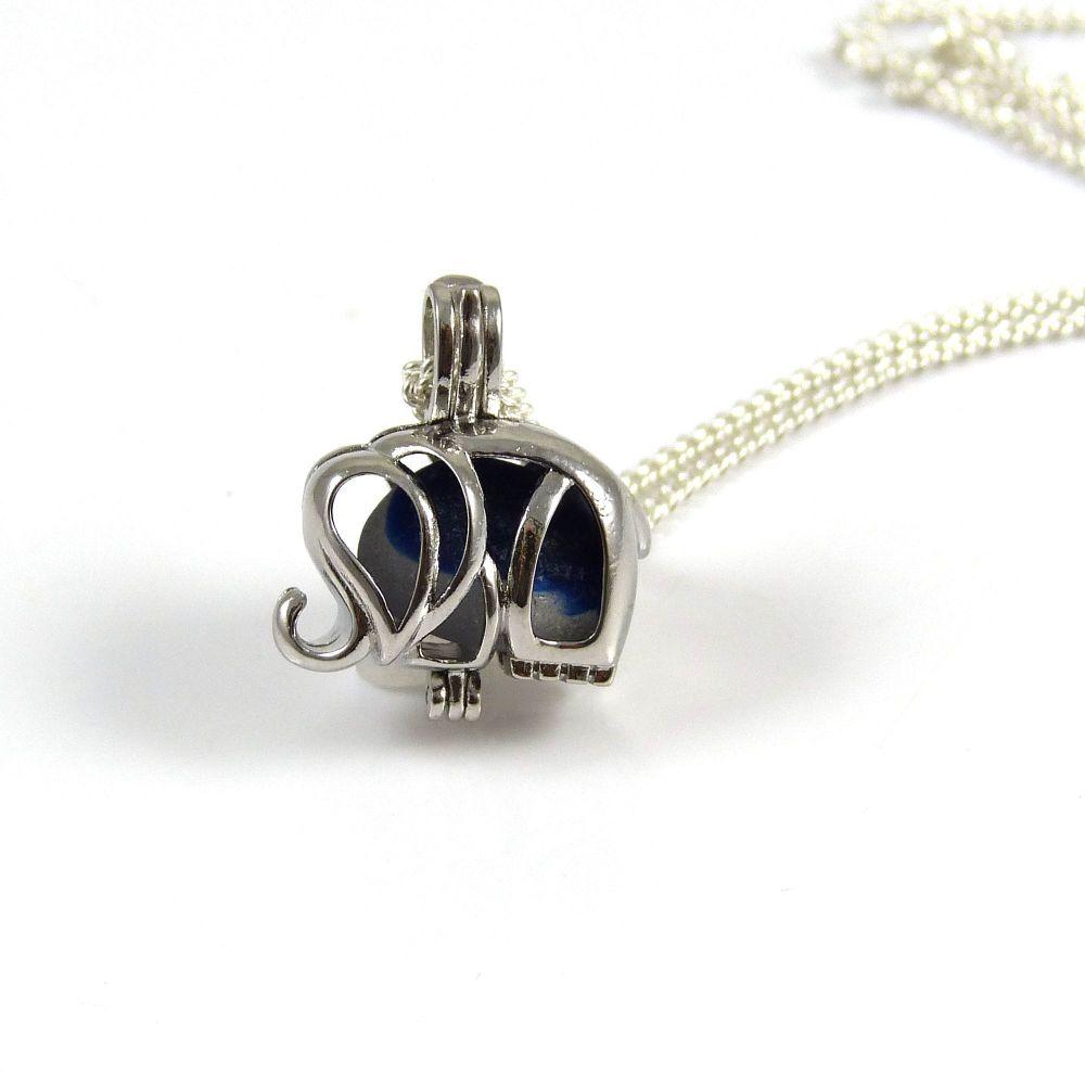 Seaham Blue and White Sea Glass Multi Elephant Locket Necklace