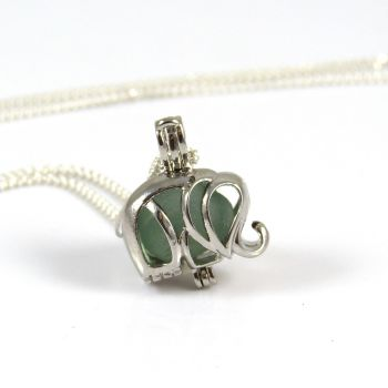 Seaham Seafoam Sea Glass  Elephant Locket Necklace