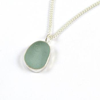 Teeny Tiny Pale Aquamarine Sea Glass Pendant Necklace NANINE