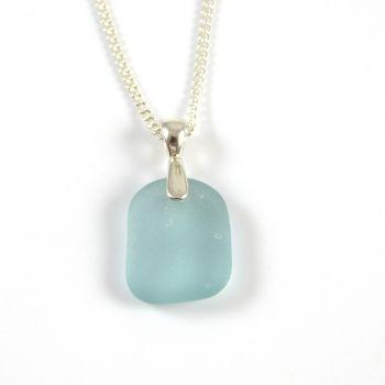 Pale Aquamarine Sea Glass Pendant Necklace MYRIA