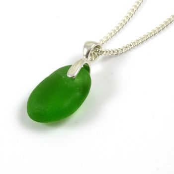 Emerald Green Sea Glass Necklace ADALIE