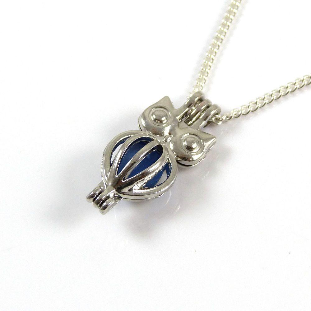 Cornflower Blue Sea Glass Owl Locket Necklace