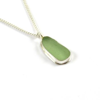 Pale Sage Green Sea Glass Pendant Necklace DAISY