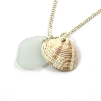 Sea Glass and Seashell Charms on Sterling Silver Chain