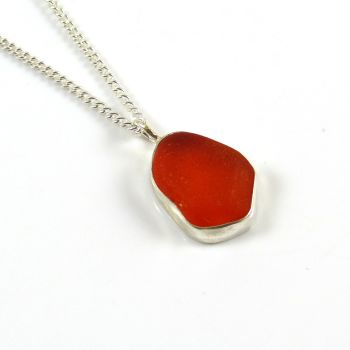 Ultra Rare Bright Orange Sea Glass Pendant Necklace ARISHA