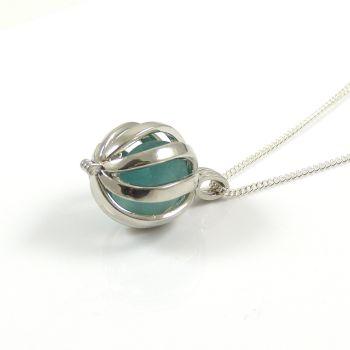 Rare Turquoise Sea Glass in Swirl Locket