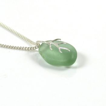 Light Teal Grey Sea Glass And Silver Tendril Pendant Necklace - MAURA