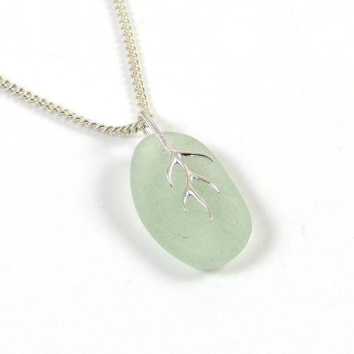 Seaspray Sea Glass And Silver Tendril Pendant Necklace - CHERI