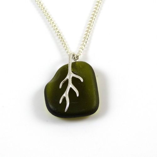 Olive Green Sea Glass And Silver Tendril Pendant Necklace LEONA