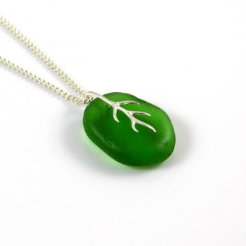 Emerald Green Sea Glass and Silver Tendril Necklace ADRIANE
