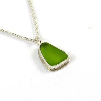 Lime Green Sea Glass Pendant Necklace DARCI