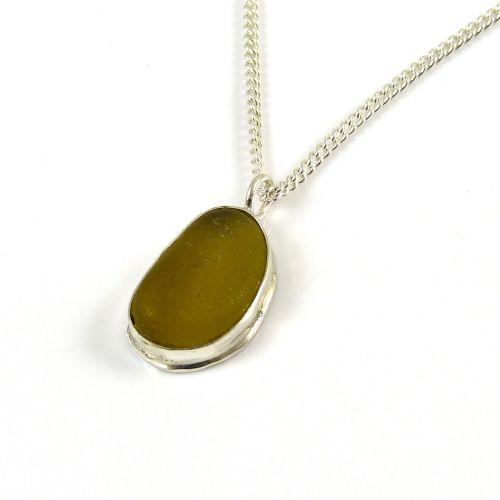Dark Yellow Gold Sea Glass Pendant Necklace AUDRA