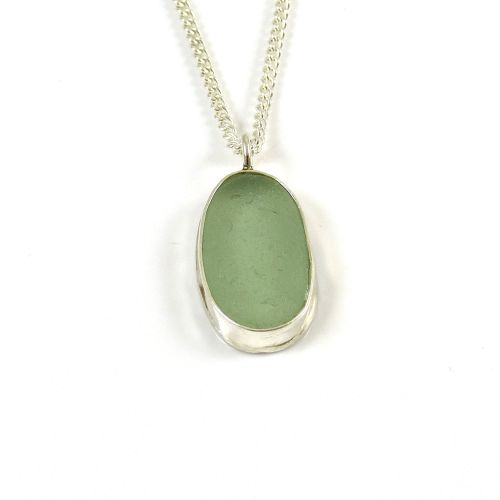 Seafoam Green Sea Glass Pendant Necklace ADALIZ