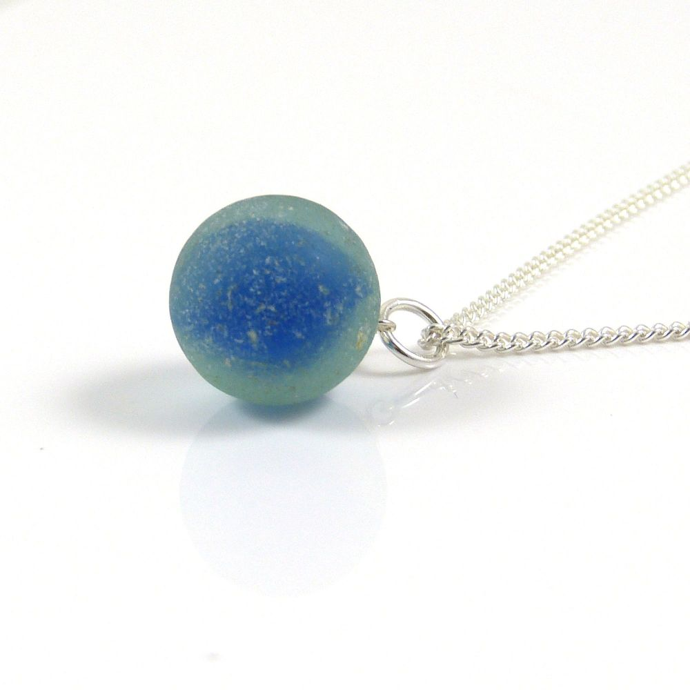 Cobalt Flash Sea Glass Marble and Silver Necklace