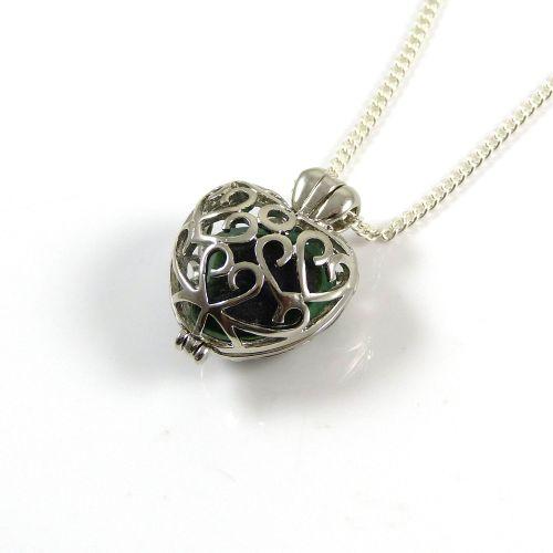 Sea Glass Necklace, Silver Heart Locket, Dark Green Sea Glass