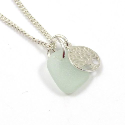 Seamist Sea Glass and Sterling Silver Tree of Life Charm Necklace c188