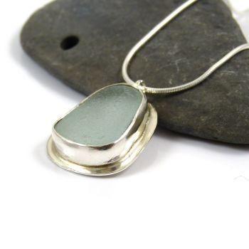 Seafoam Sea Glass Pendant Necklace PIERA
