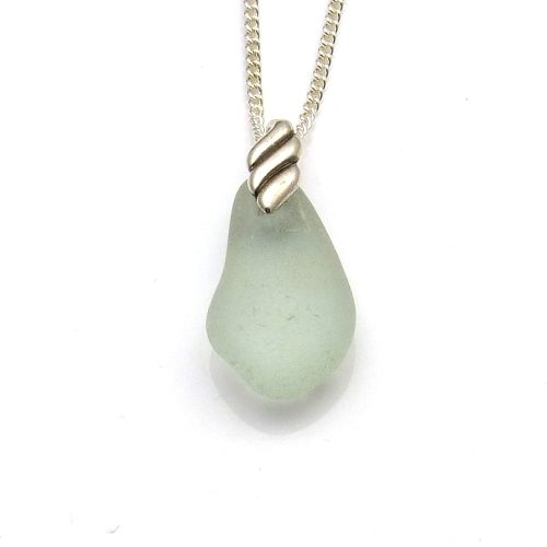 Pale Blue Sea Glass Necklace LEA