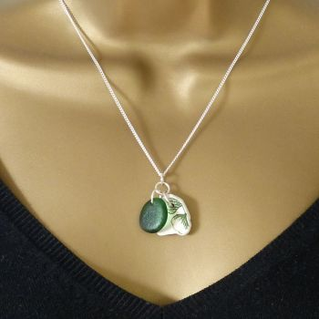 Forest Green Sea Glass and Beach Pottery Necklace LUCIE