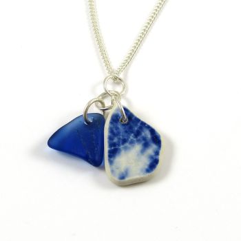 Cobalt Blue Sea Glass and Beach Pottery Necklace MAIYA
