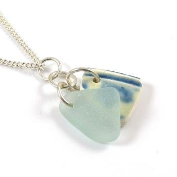 Aquamarine Sea Glass and Beach Pottery Necklace LORIN