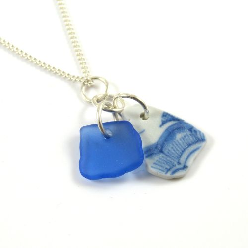 Sapphire Blue Sea Glass and Beach Pottery Necklace SUZY