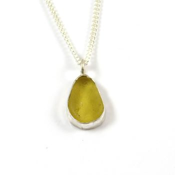 Yellow Gold Sea Glass Pendant Necklace YVONNA