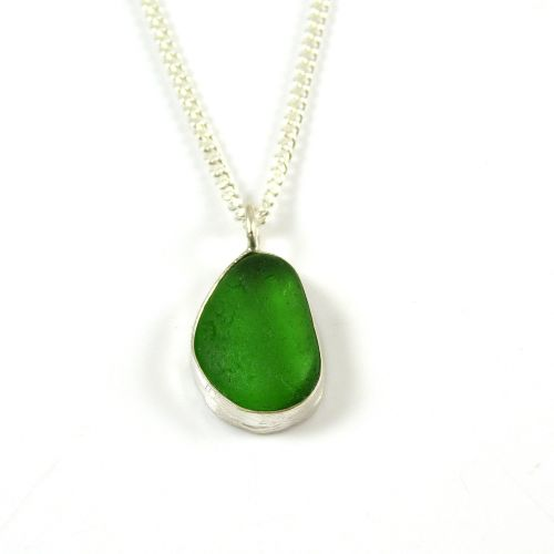 Emerald Green Sea Glass Pendant Necklace LUCETTE