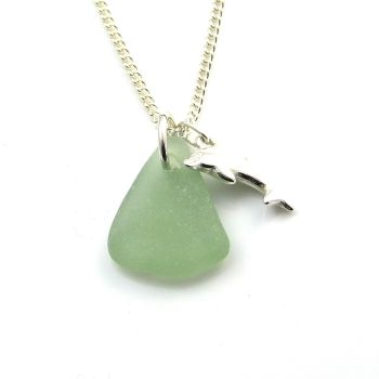Deep Seafoam Sea Glass and Sterling Silver Dolphin Charm Necklace