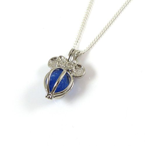 Sapphire Blue Sea Glass in Butterfly Locket Necklace