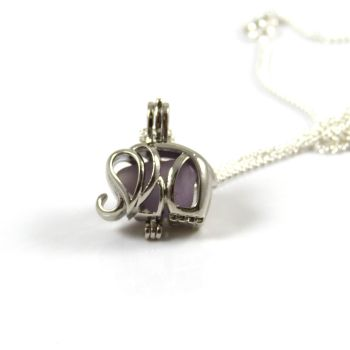 Lavender Sea Glass  Elephant Locket Necklace