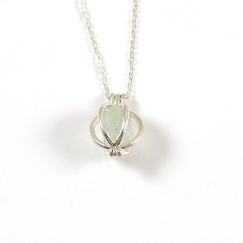 Tiny Round Locket and Seamist Sea Glass Necklace