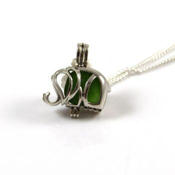 Kelly Green Sea Glass  Elephant Locket Necklace
