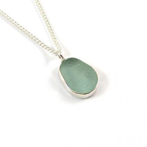 Aquamarine Sea Glass Pendant Necklace LYNETTE
