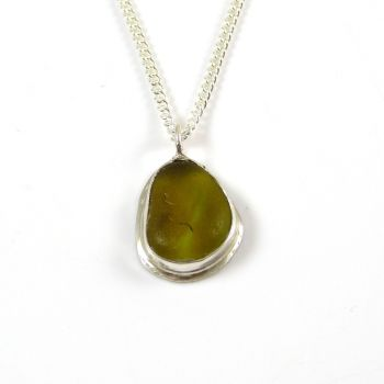 Dark Yellow Gold Sea Glass Pendant Necklace MARTINE