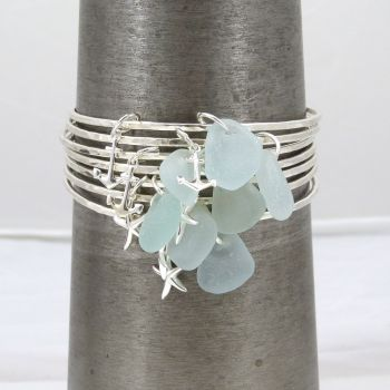 Sterling Silver Hammered Bangle with Sea Glass and Starfish Charm - Made To Order