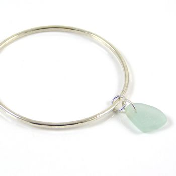 Sterling Silver Hammered Bangle and Pale Aquamarine Sea Glass Charm FREE DELIVERY UK
