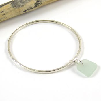 Sterling Silver Hammered Bangle and Seafoam Blue Sea Glass Charm