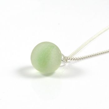 Lime Green Swirl Sea Glass Marble and Silver Necklace