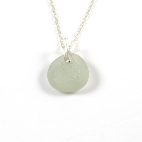 Morning Dew Sea Glass and Silver Necklace CLAIR
