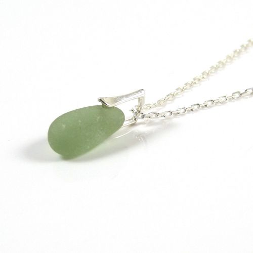 Jade Sea Glass and Silver Necklace AMIE